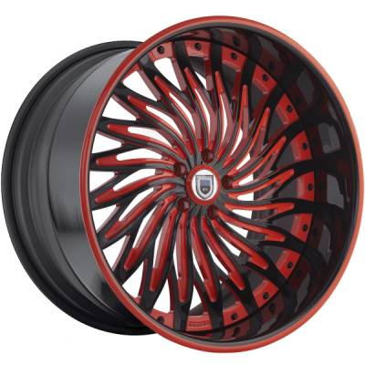 Asanti AF-824 Black and Red Wheels