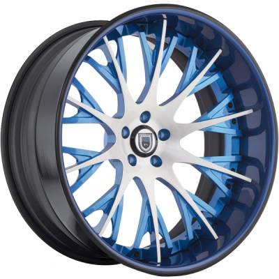 Asanti AF-825 Brushed and Blue Wheels
