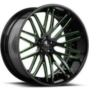 Savini Forged SV25-C Black and Green Wheels